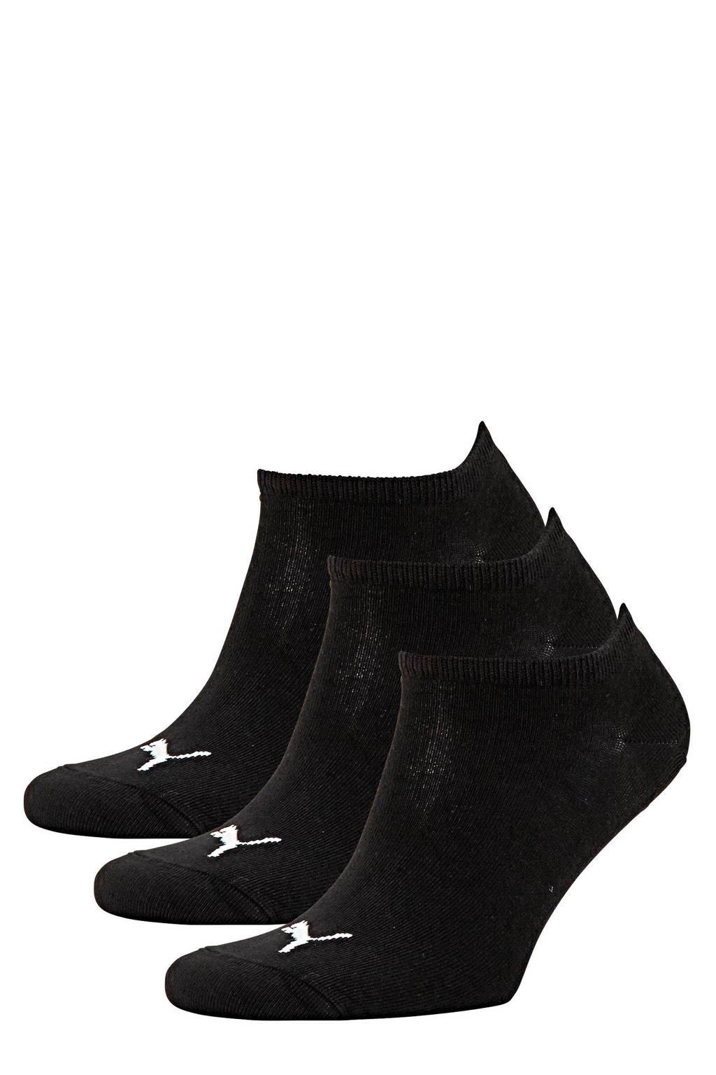 Puma sneakersokken (set van 3), Zwart