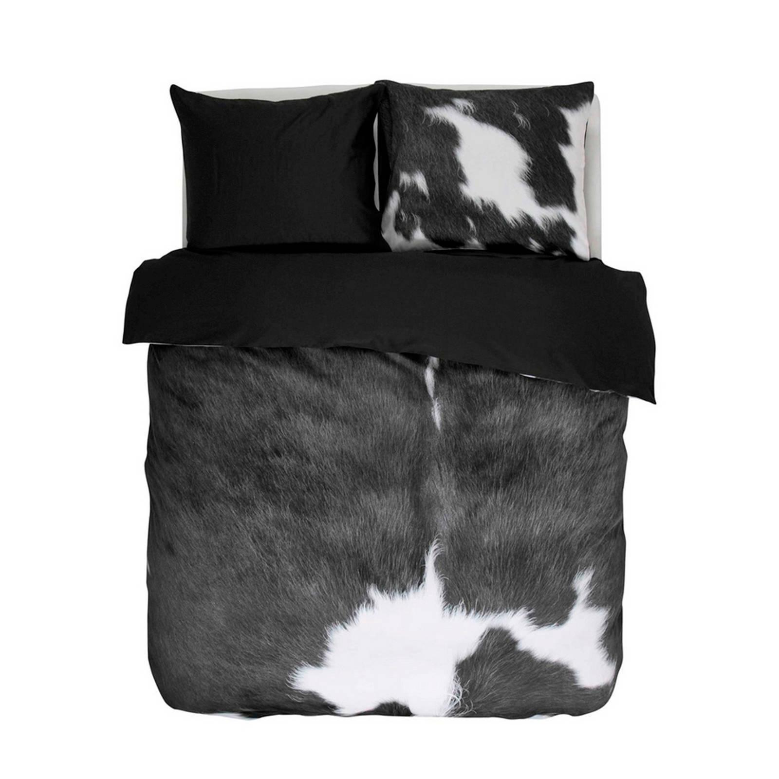 essenza katoensatijnen dekbedovertrek lits jumeaux zwart