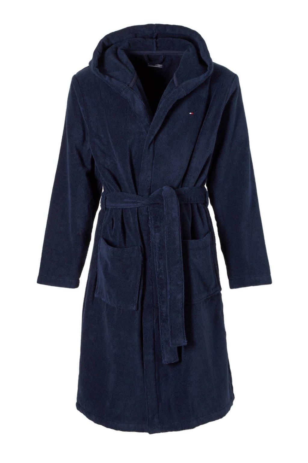 Tommy Hilfiger badstof badjas met capuchon marine, Donkerblauw