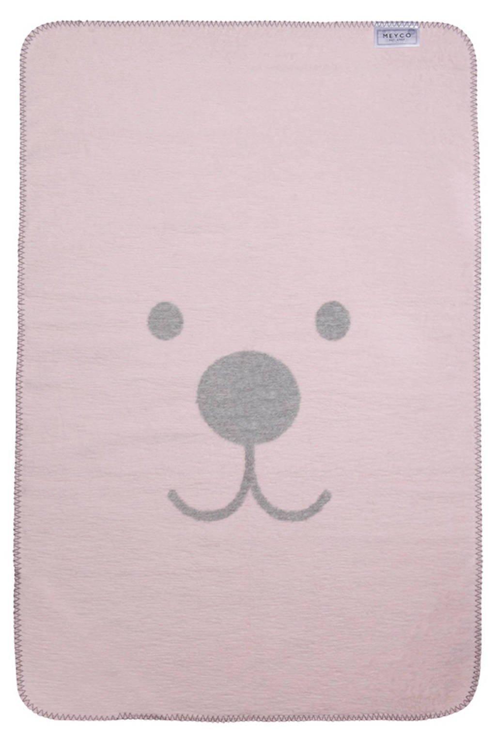 Meyco Animal ledikantdeken 120x150 cm roze/grijs, Roze/grijs