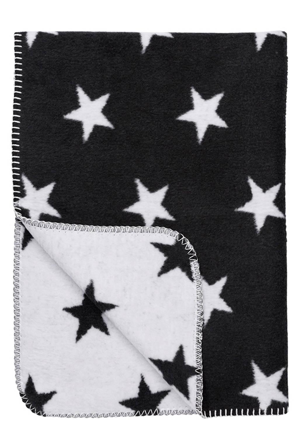 Meyco Stars wiegdeken 75x100 cm zwart, Zwart