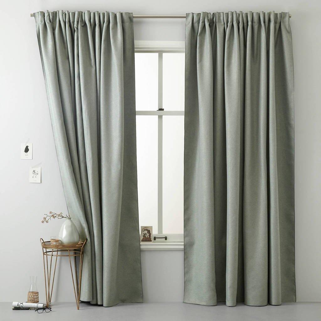 Wehkamp Home verduisterend gordijn kant en klaar verduisterend gordijn (per stuk) (duurzaam) (135 x 270 cm), groen/grijs melange