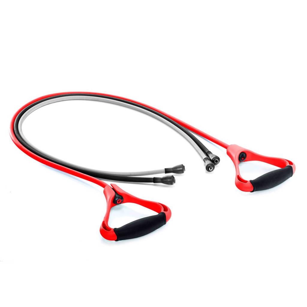 Gymstick set weerstandtrainers + instructievideo's, grijs, zwart, rood