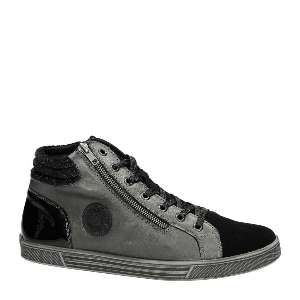 Remonte leren sneakers, Zwart