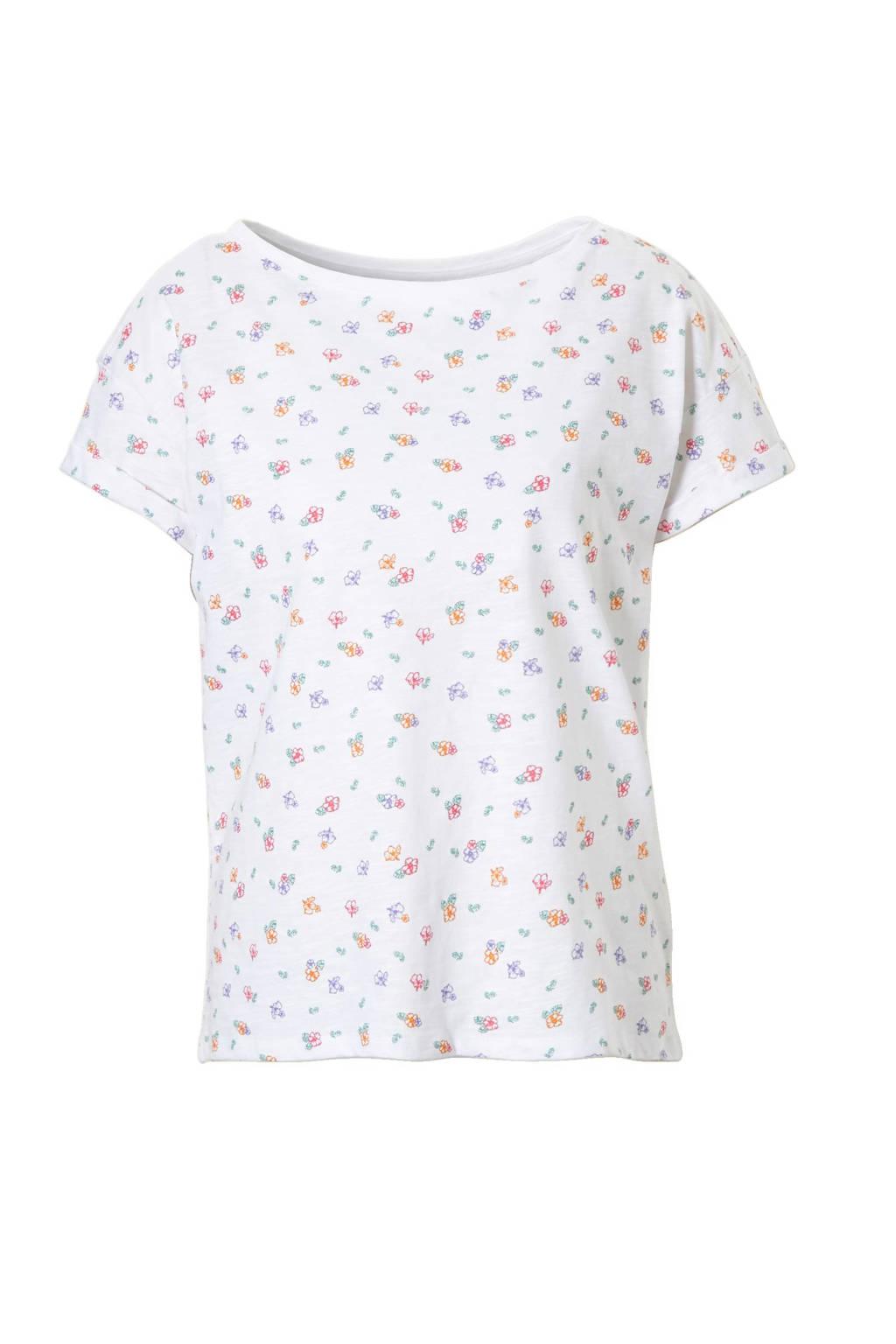 edc Women T-shirt met all over print, Wit/roze/groen/paars