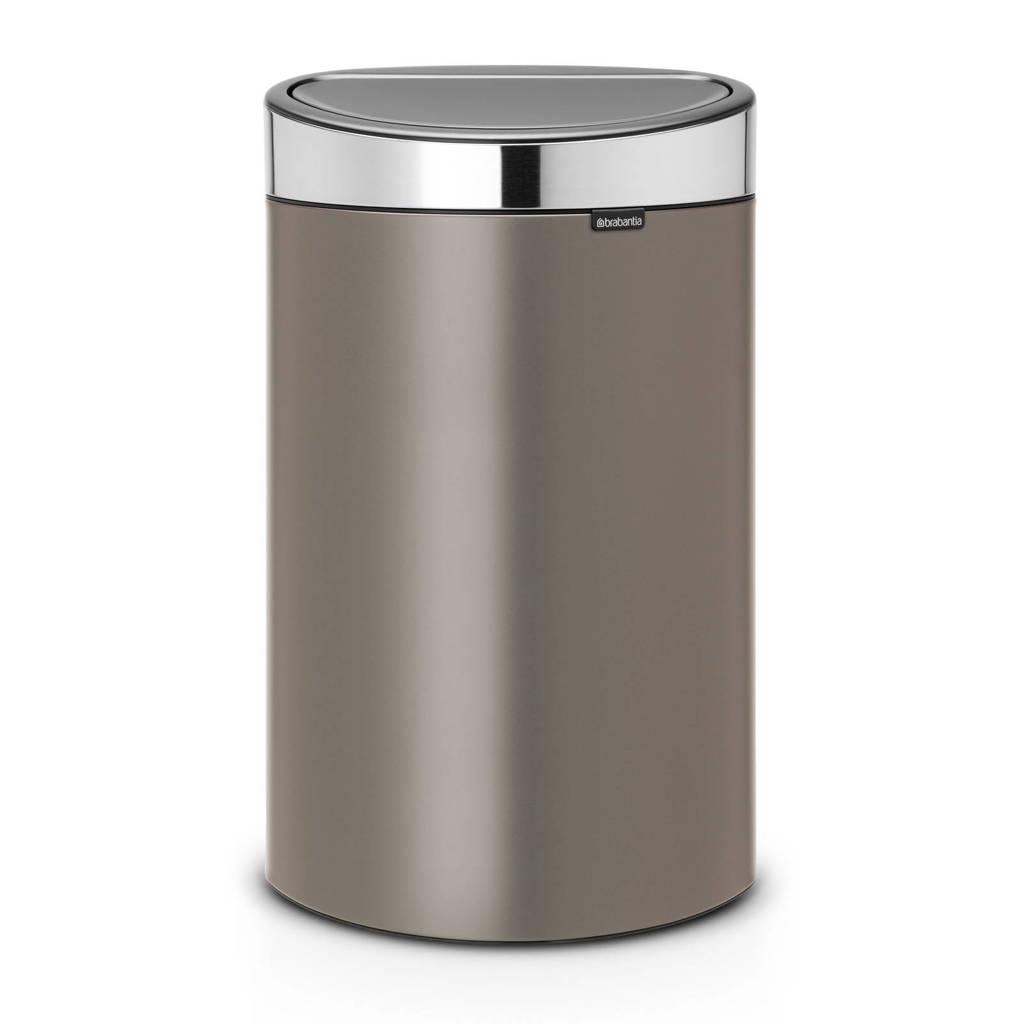 Brabantia Touch Bin prullenbak, 40 liter, Platinum