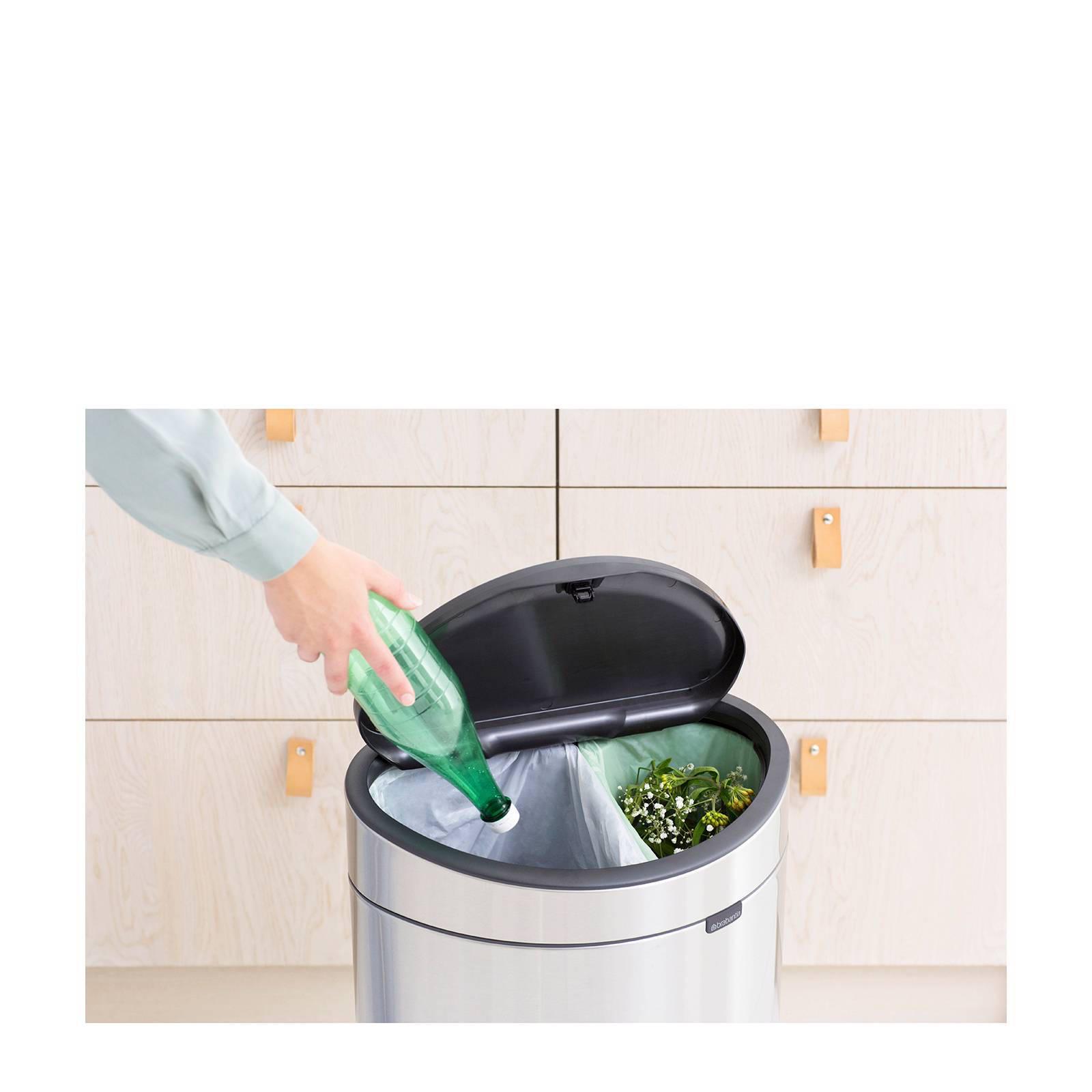 Prullenbak Brabantia Touch Bin 10 Liter.Touch Bin Recycle Prullenbak 23 10 Liter