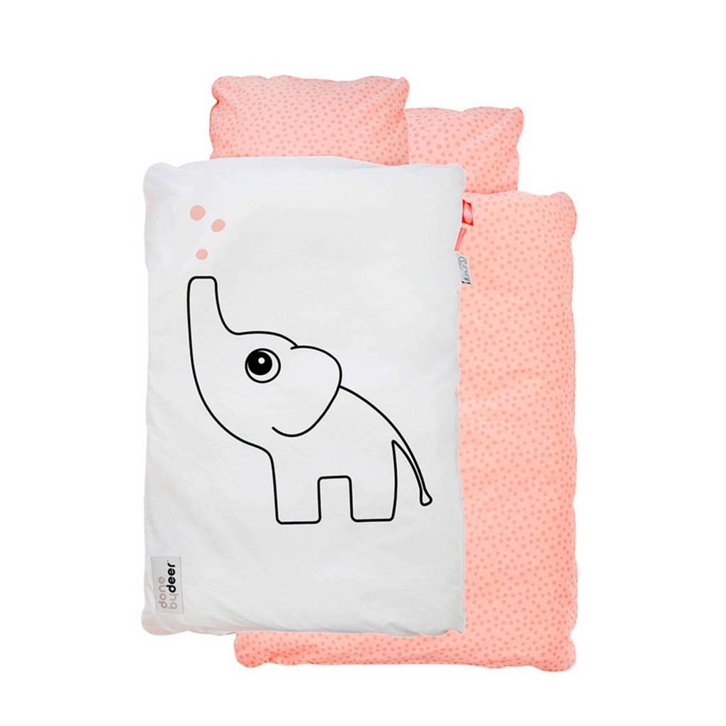Done by Deer Happy dots Elphee katoenen dekbedovertrek 70x100 cm roze, Roze