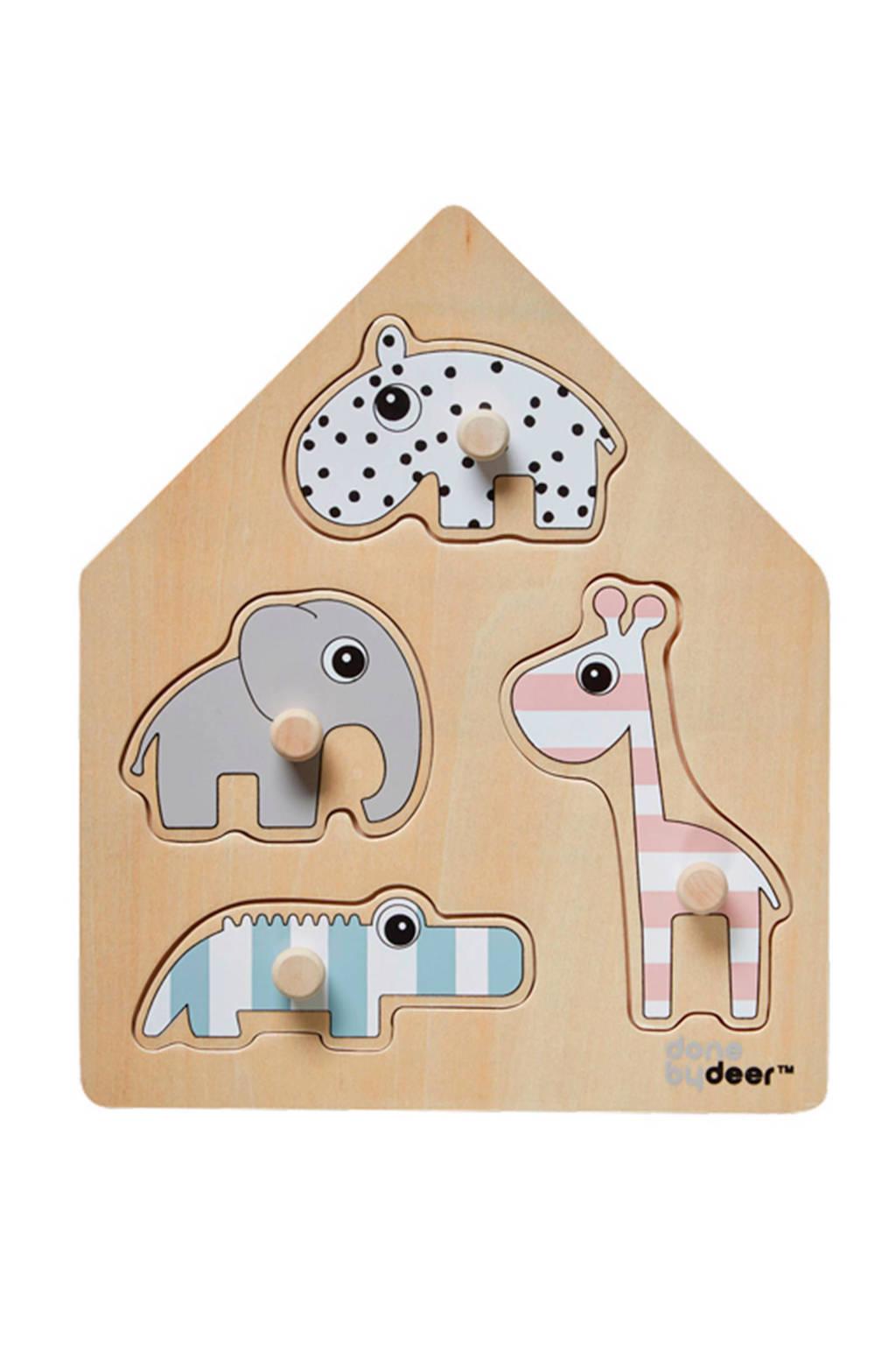 Done by Deer friends  houten vormenpuzzel 4 stukjes, Hout