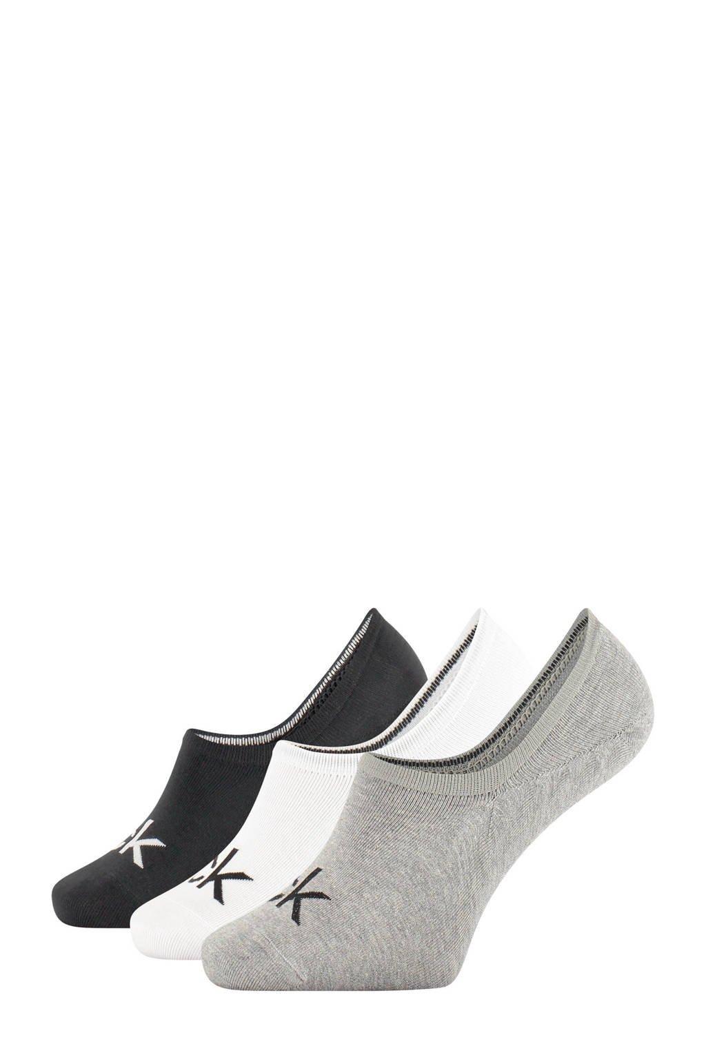 CALVIN KLEIN sneakersokken - 3 paar, Grijs/wit/zwart