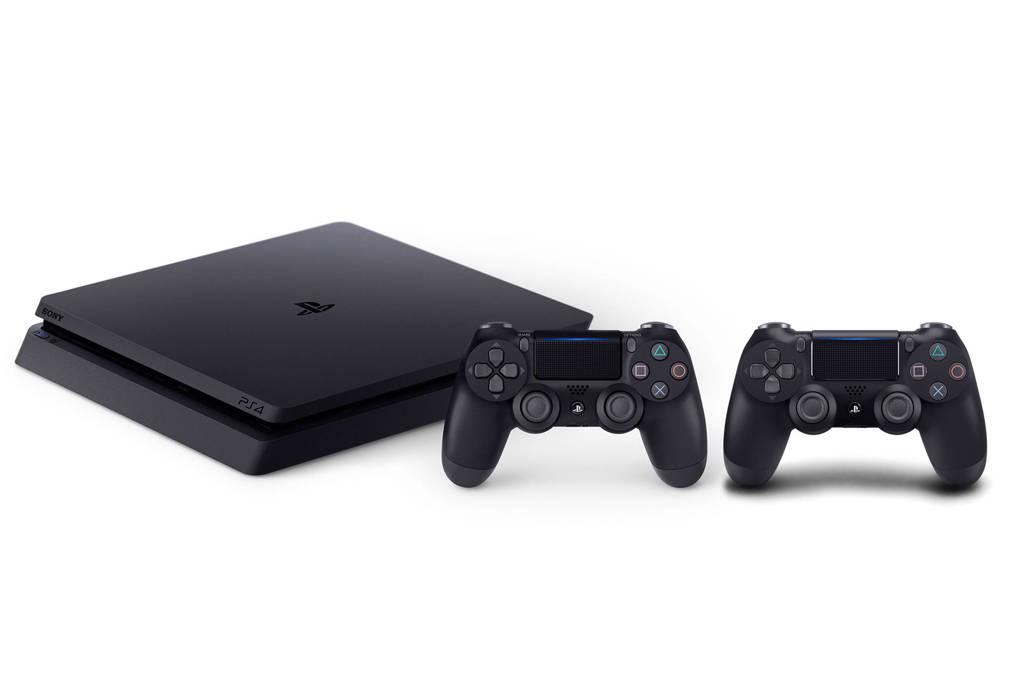 Sony PlayStation 4 Slim 1TB + 2 DualShock 4 controllers v2, Zwart
