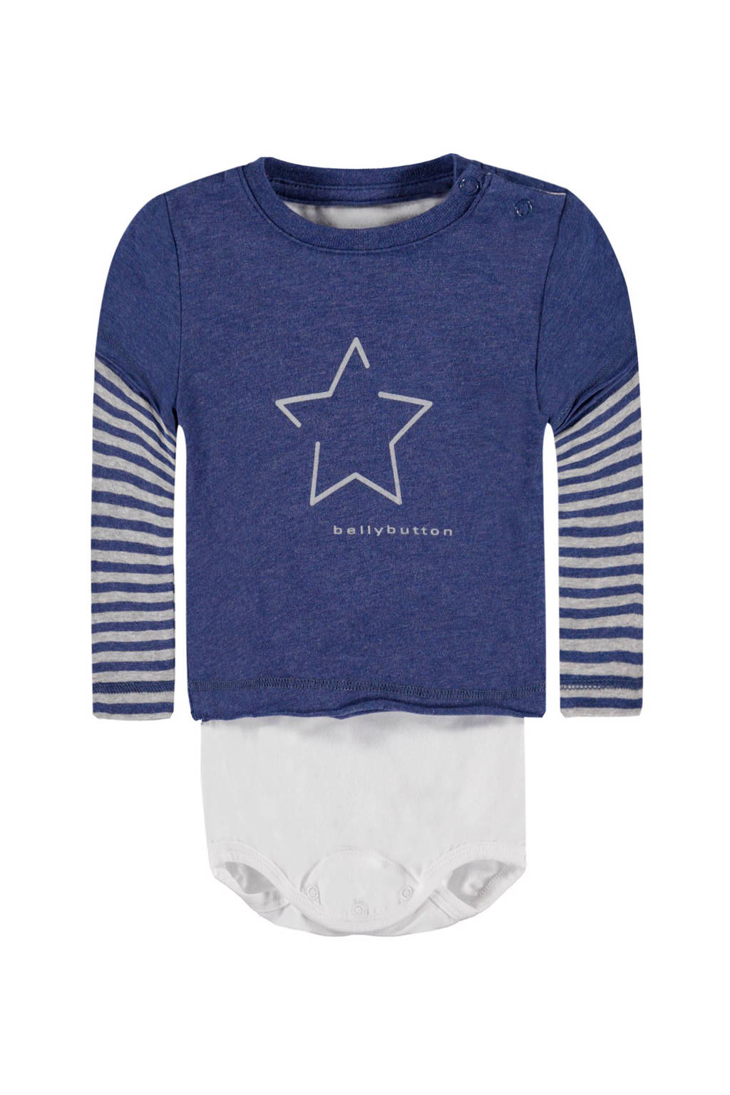 bellybutton T-shirt, Blauw/wit