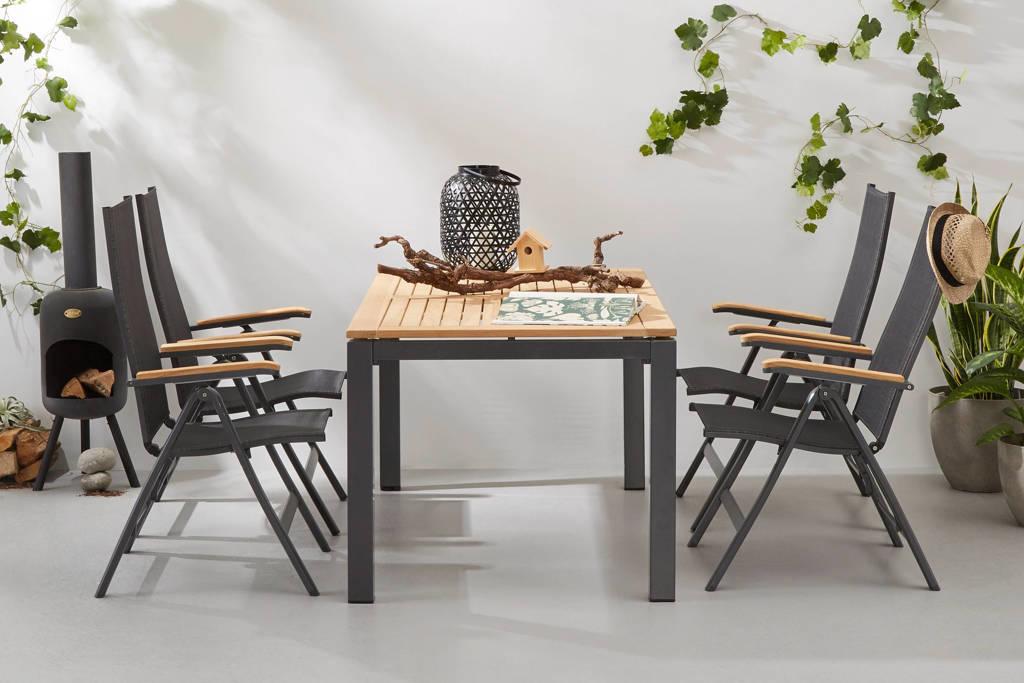Exotan tuinset Memphis (verstelbare stoelen), Antraciet + naturel