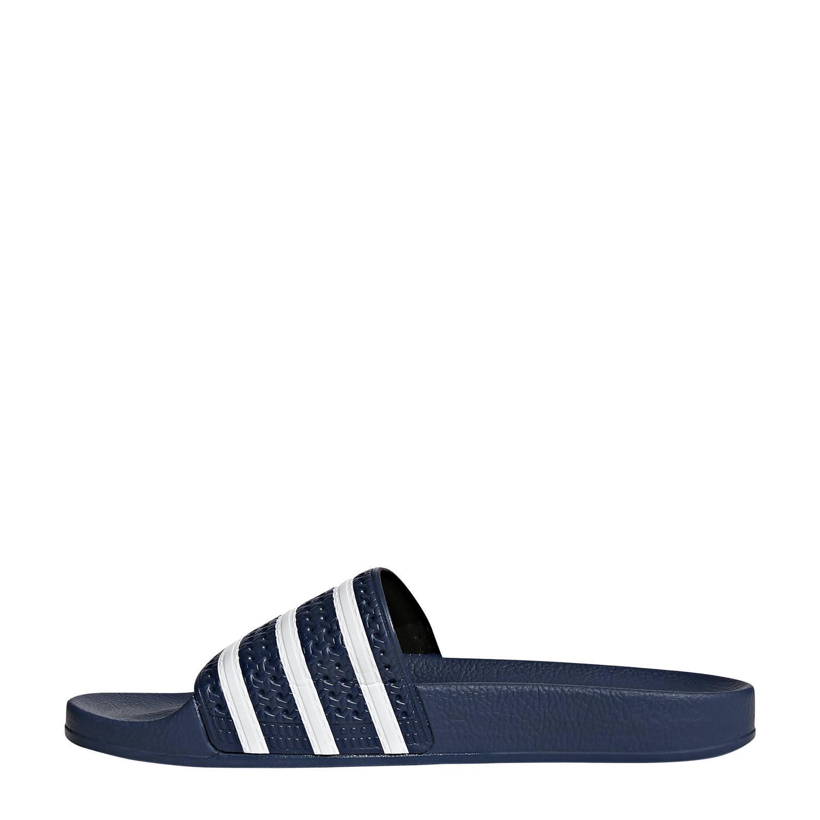 2d4ca3ec686 adidas originals Adilette badslippers donkerblauw | wehkamp
