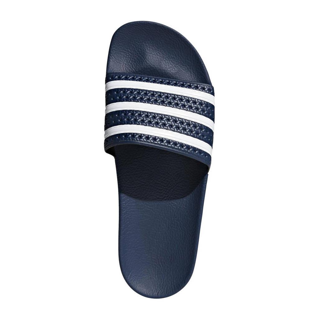 adidas originals Adilette badslippers donkerblauw, Blauw/wit