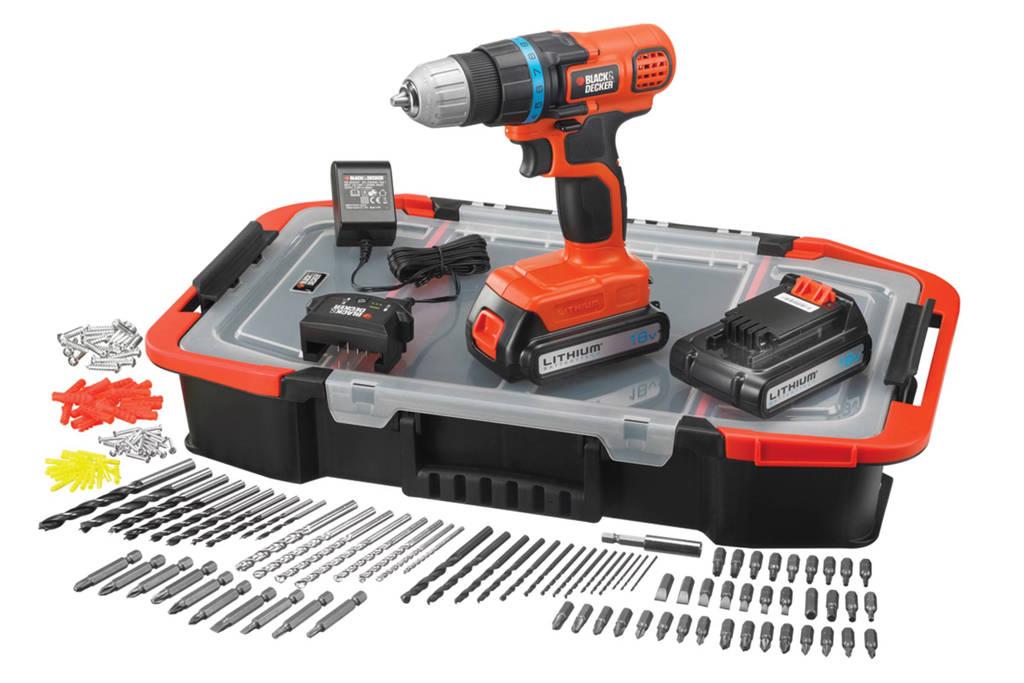 Black+Decker EGBL18BAST-QW accuboor/schroefmachine + accessoireset (150st)