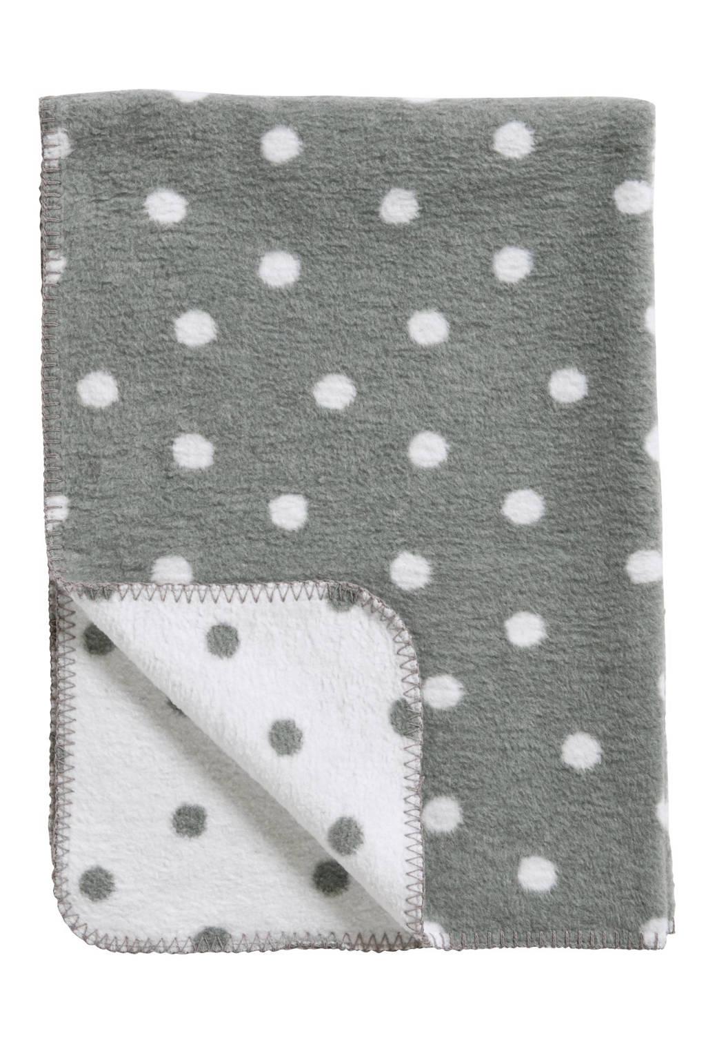 Meyco Stip ledikantdeken 100x150 cm grijs/wit, Grijs/wit