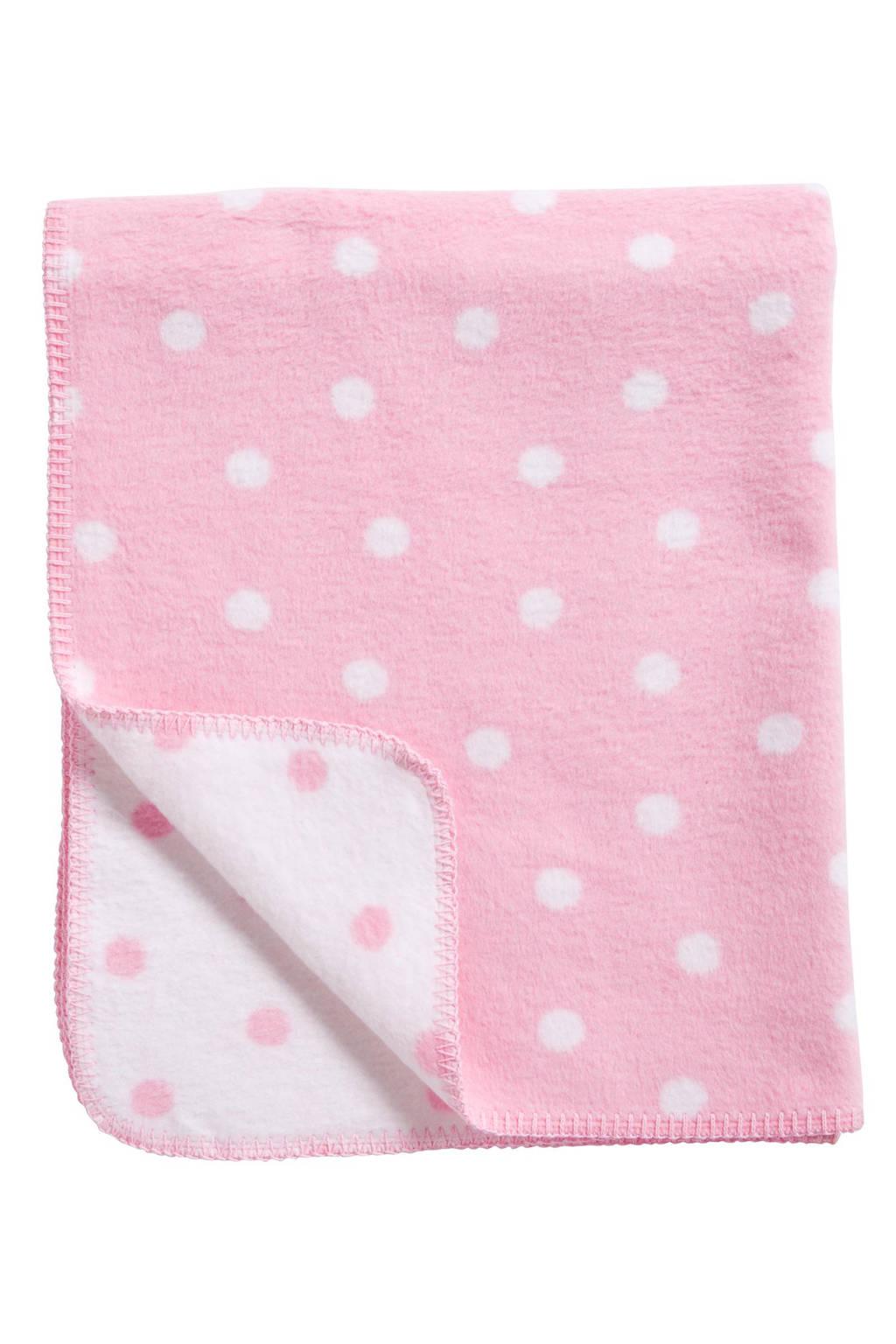 Meyco Stip ledikantdeken 100x150 cm roze/wit, Roze/wit