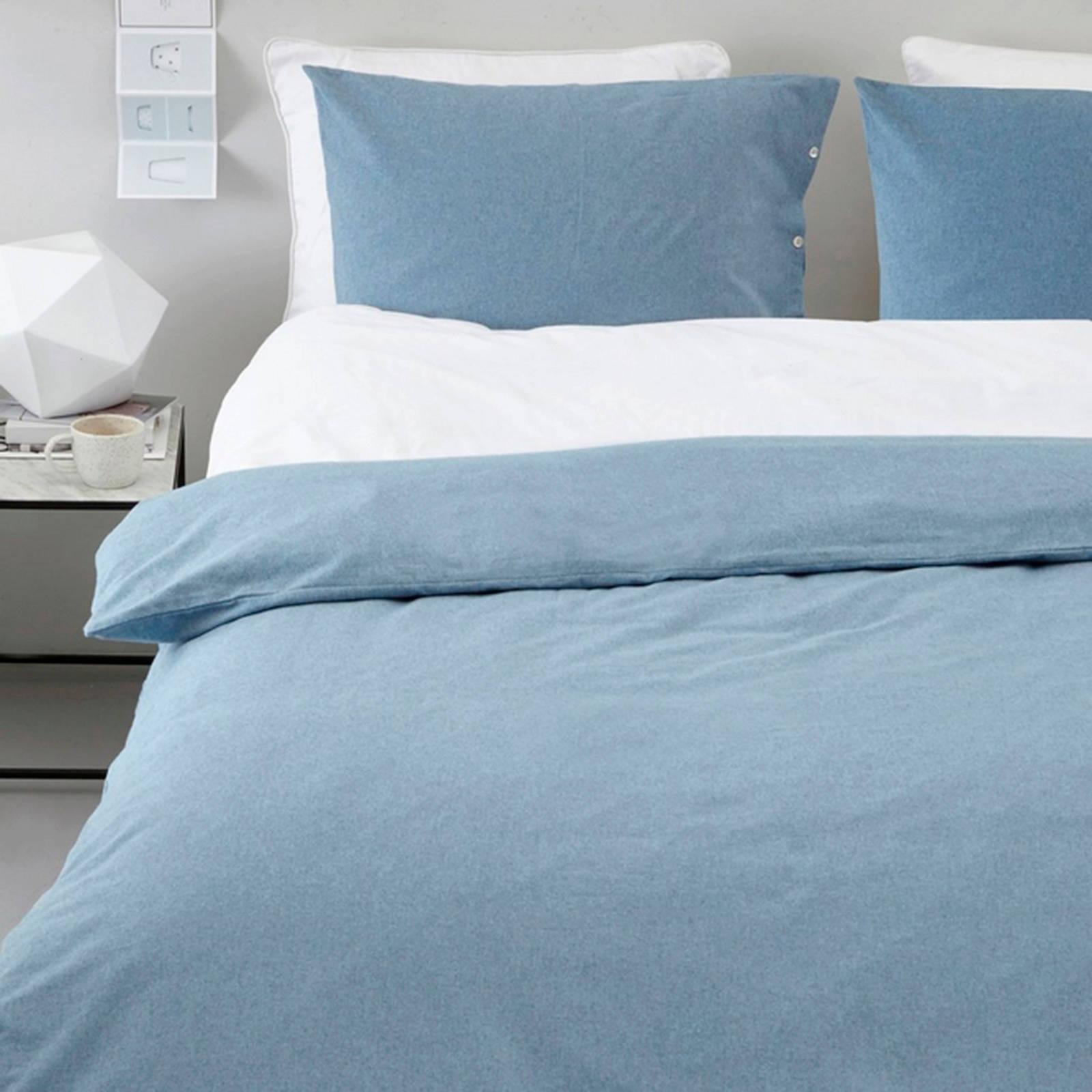 yumeko flanellen dekbedovertrek lits jumeaux blauw
