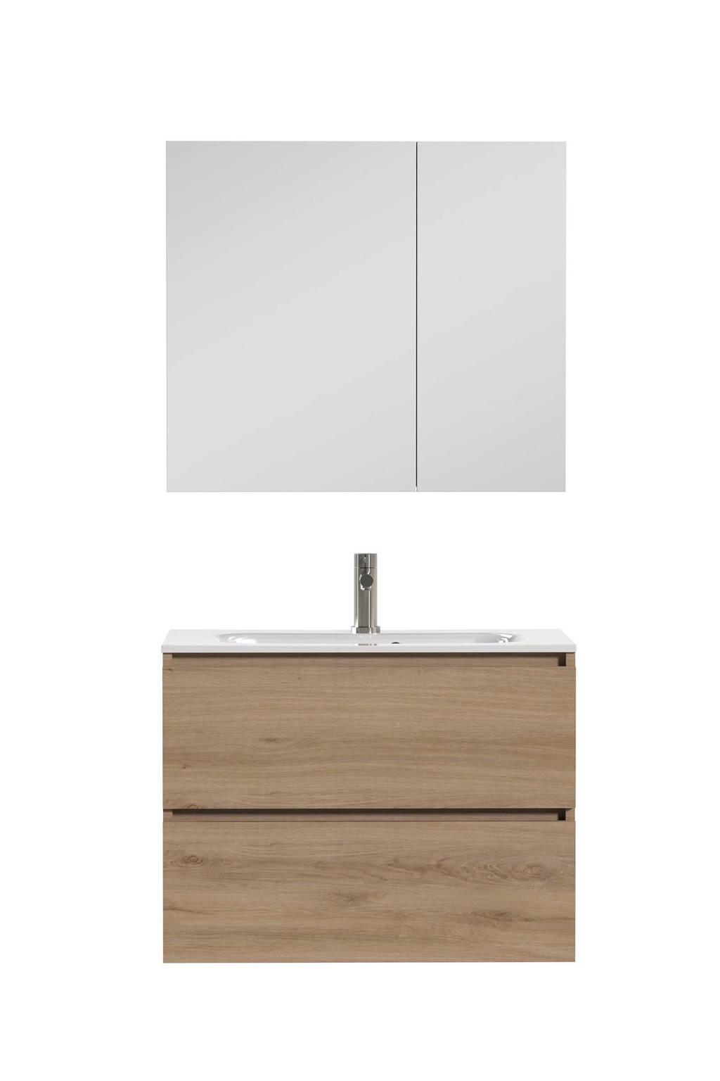 Tiger Loft Badkamermeubel 80cm met spiegelkast en witte wastafel, Eiken met witte wasbak