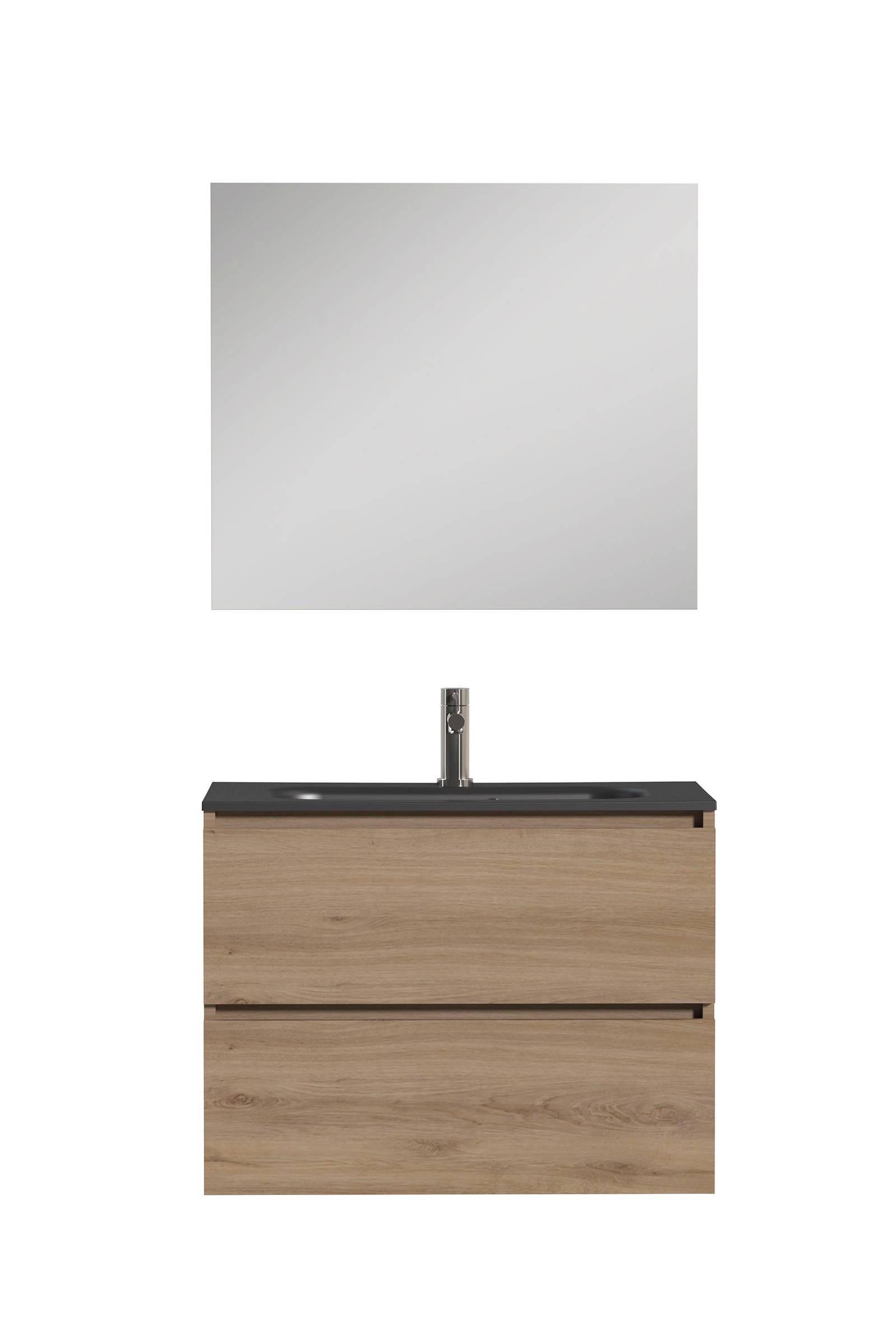 Tiger Loft Badkamermeubel 80cm met spiegelpaneel en zwarte wastafel