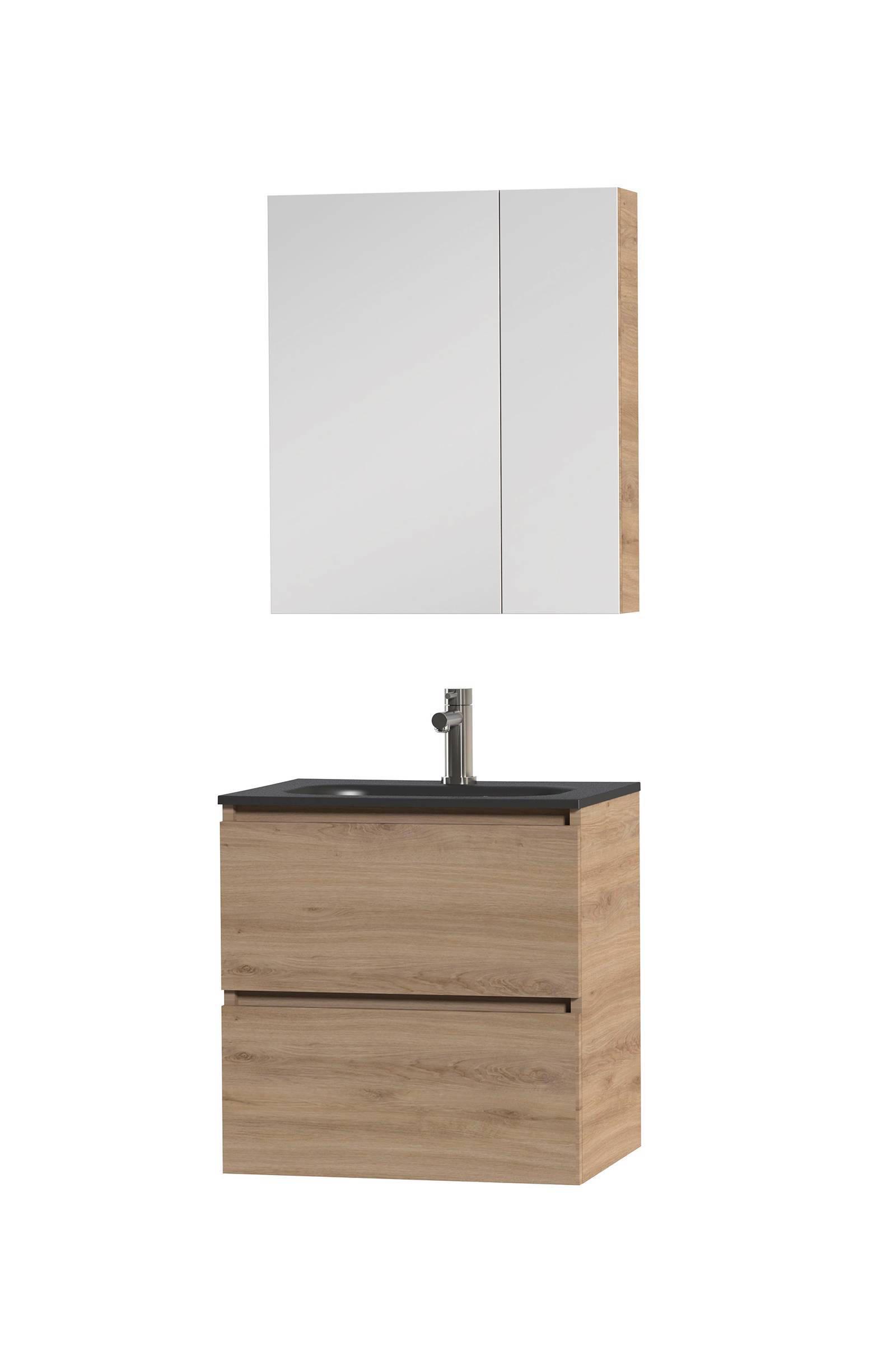 Badmeubel 60 Cm Met Spiegelkast.Loft Badkamermeubel 60cm Met Spiegelkast En Zwarte Wastafel
