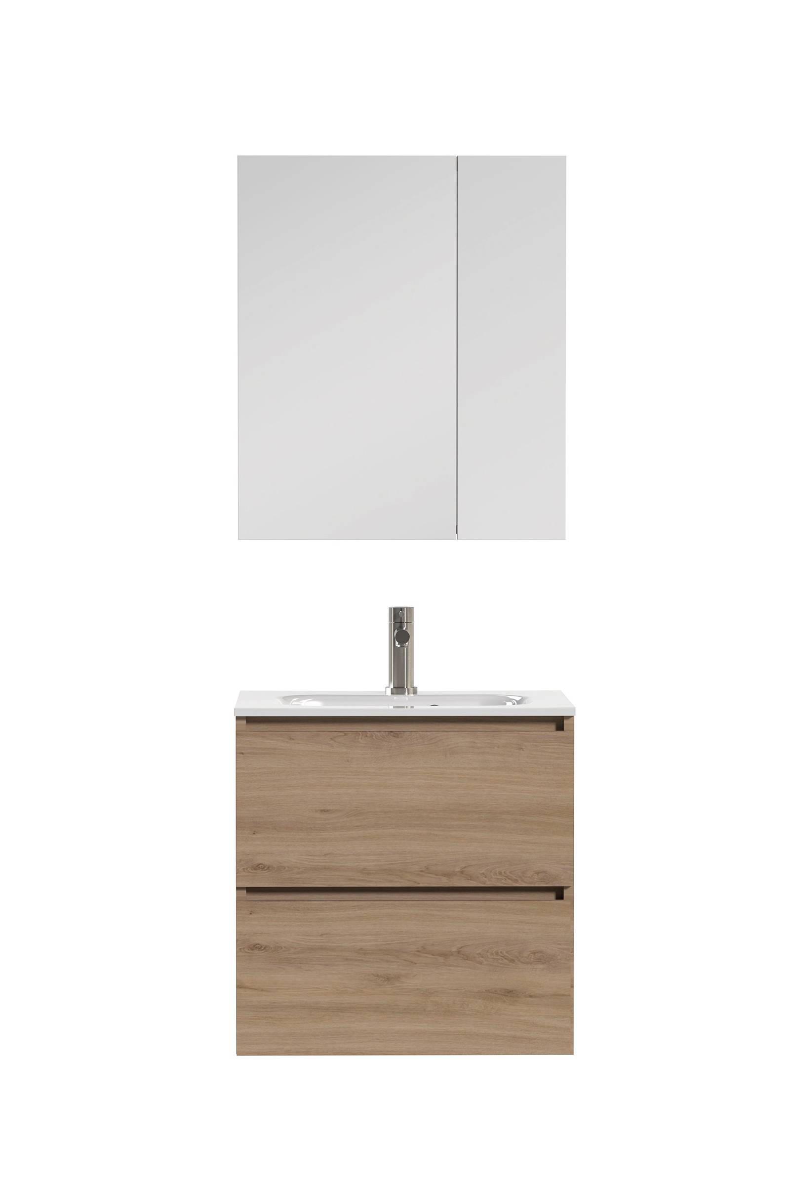 Tiger Loft Badkamermeubel 80cm met spiegelkast en witte wastafel ...