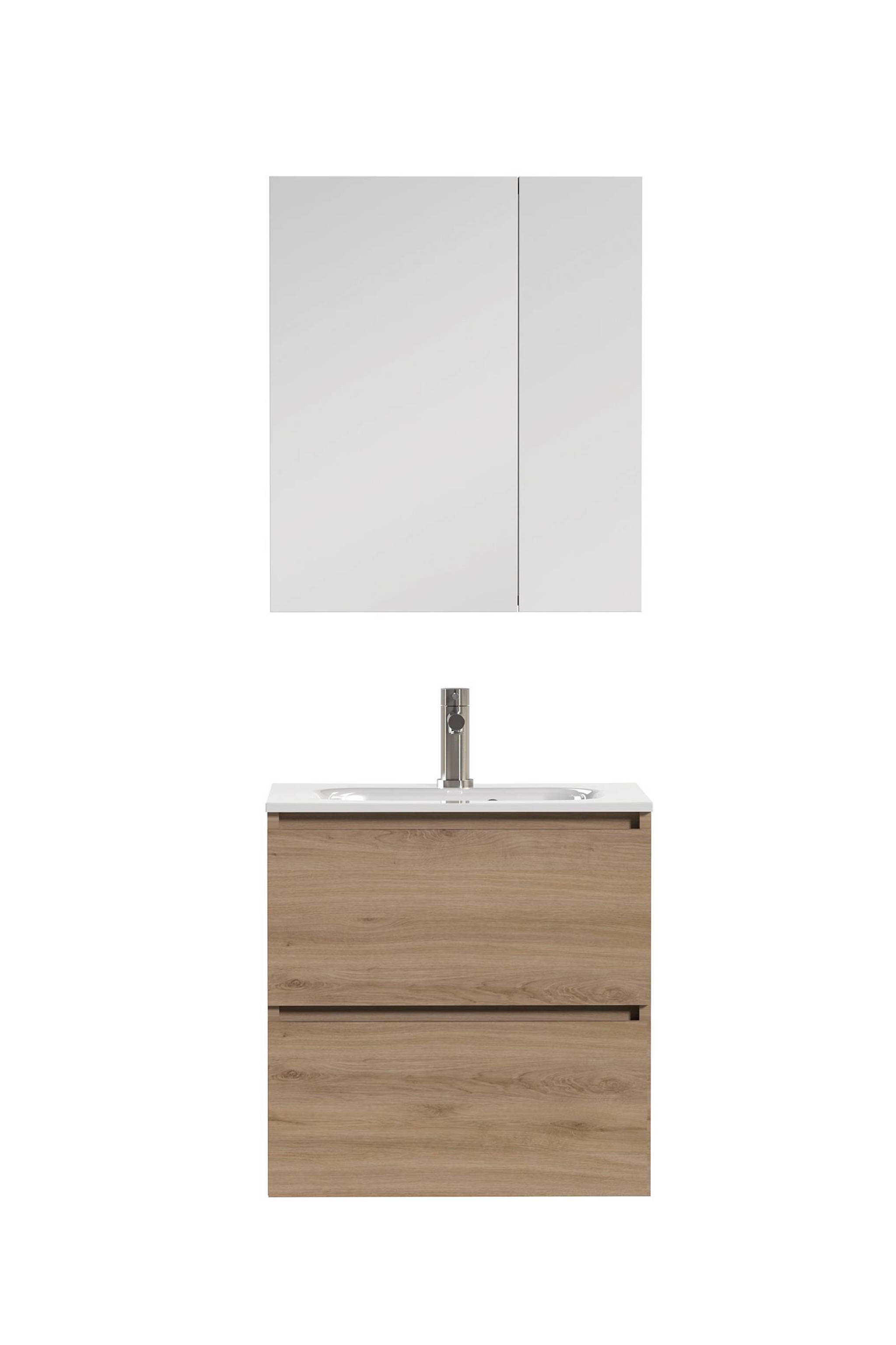 Badmeubel 60 Cm Met Spiegelkast.Loft Badkamermeubel 60cm Met Spiegelkast En Witte Wastafel