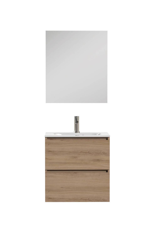 Tiger Loft Badkamermeubel 60cm met spiegelpaneel en witte wastafel ...