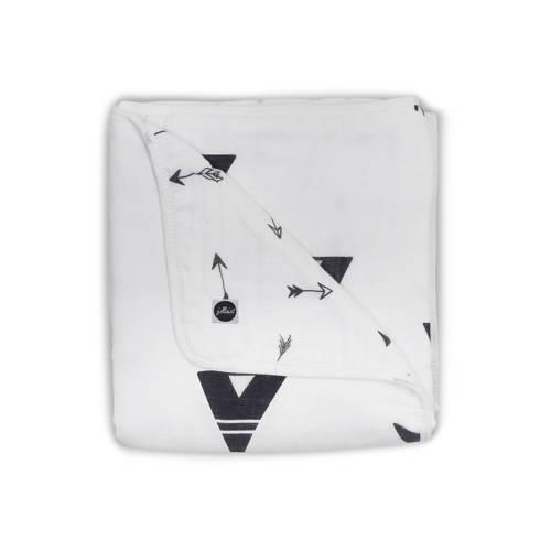 Jollein hydrofiel ledikantdeken 120x120 cm zwart/wit kopen