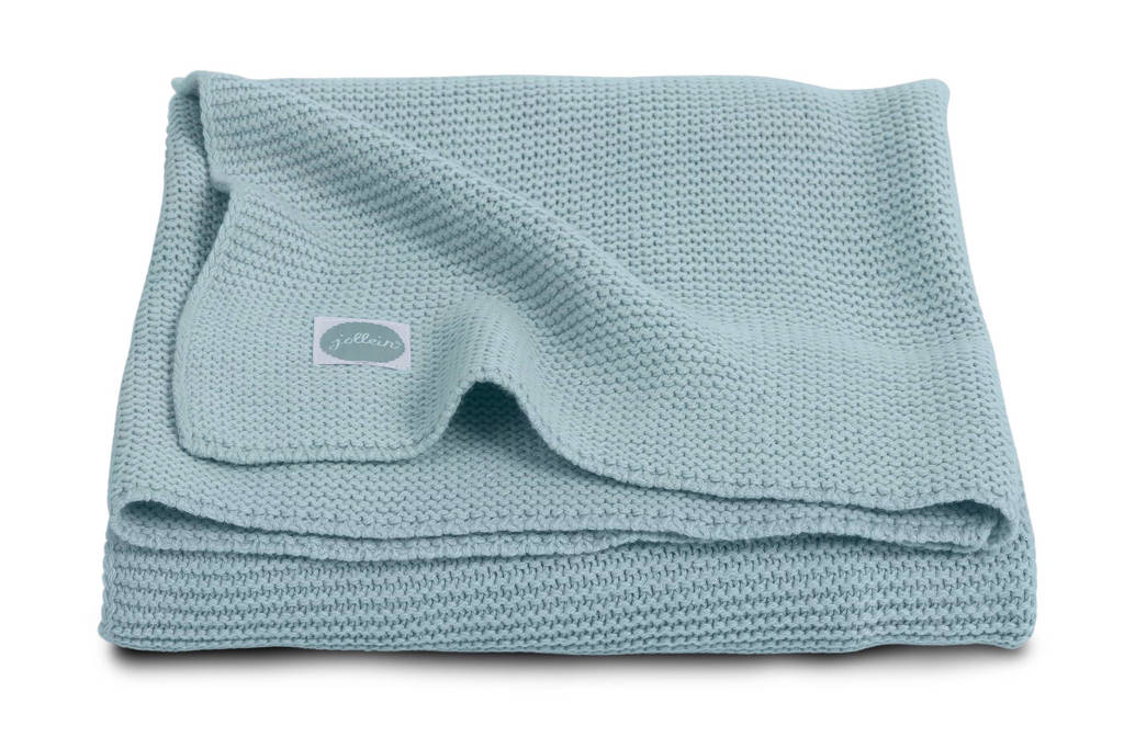 Jollein Basic Knit ledikantdeken 100x150 cm stone green, Stone Green