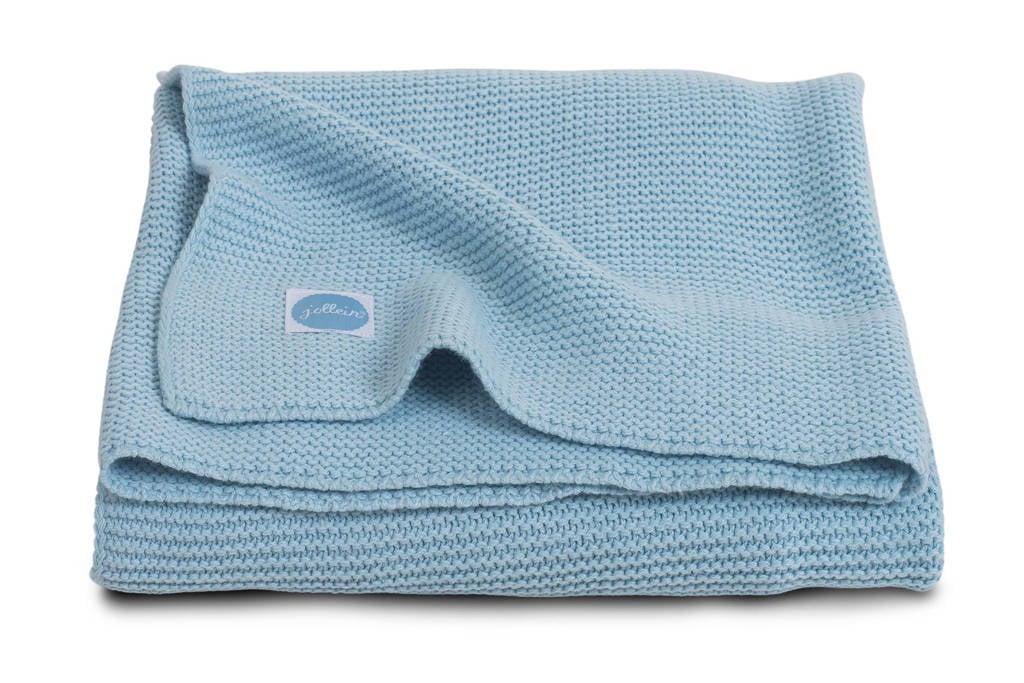 Jollein Basic Knit ledikantdeken 100x150 cm ice blue, Ice Blue