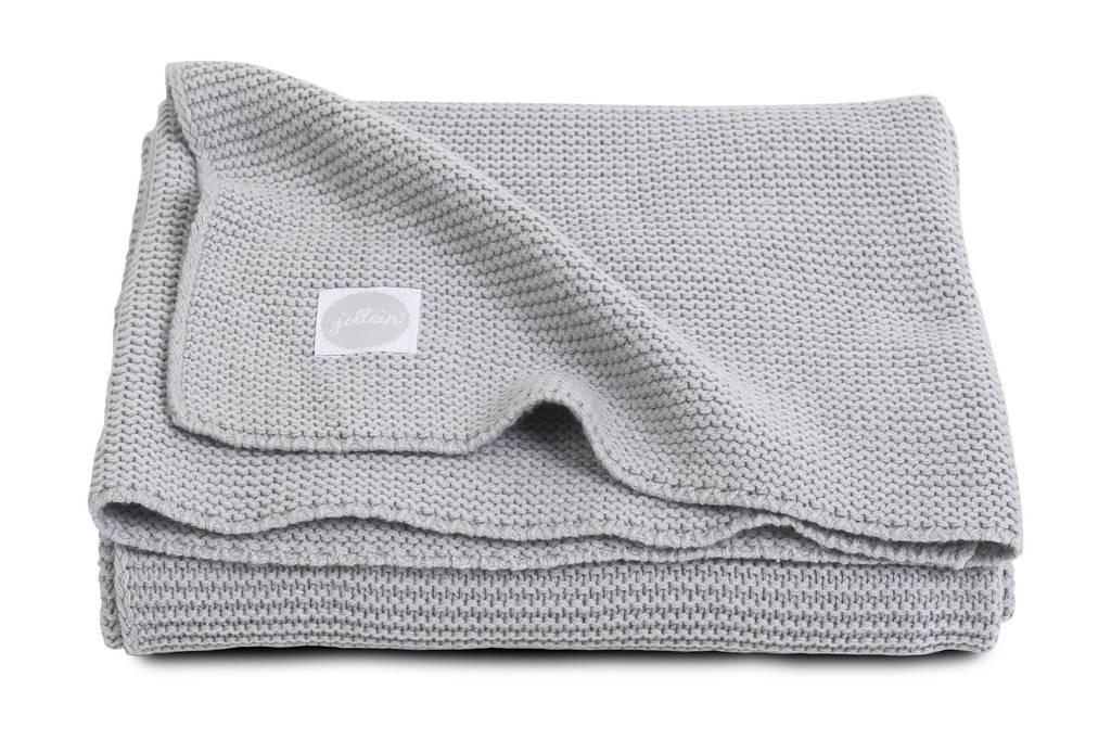 Jollein Basic Knit ledikantdeken 100x150 cm lichtgrijs, Lichtgrijs