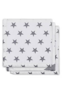 Jollein Little star hydrofiele monddoekjes 31x31 cm (3 stuks) antraciet, Antraciet/wit