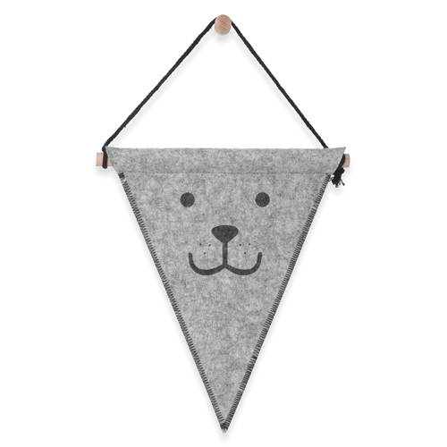 Jollein felt bear vlag grijs