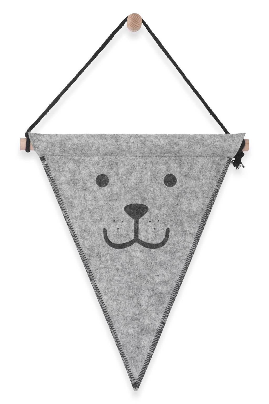 Jollein felt bear vlag grijs, Grijs