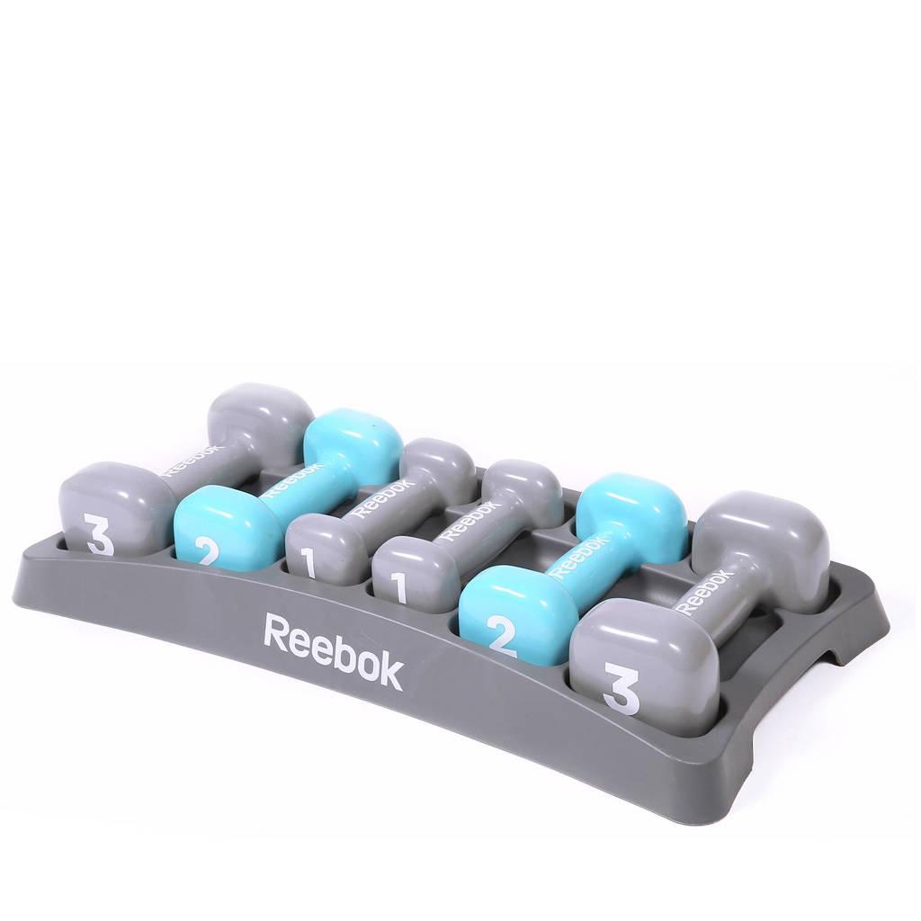 Reebok set van 6 dumbbells 1-3 kg, grijs, mintblauw