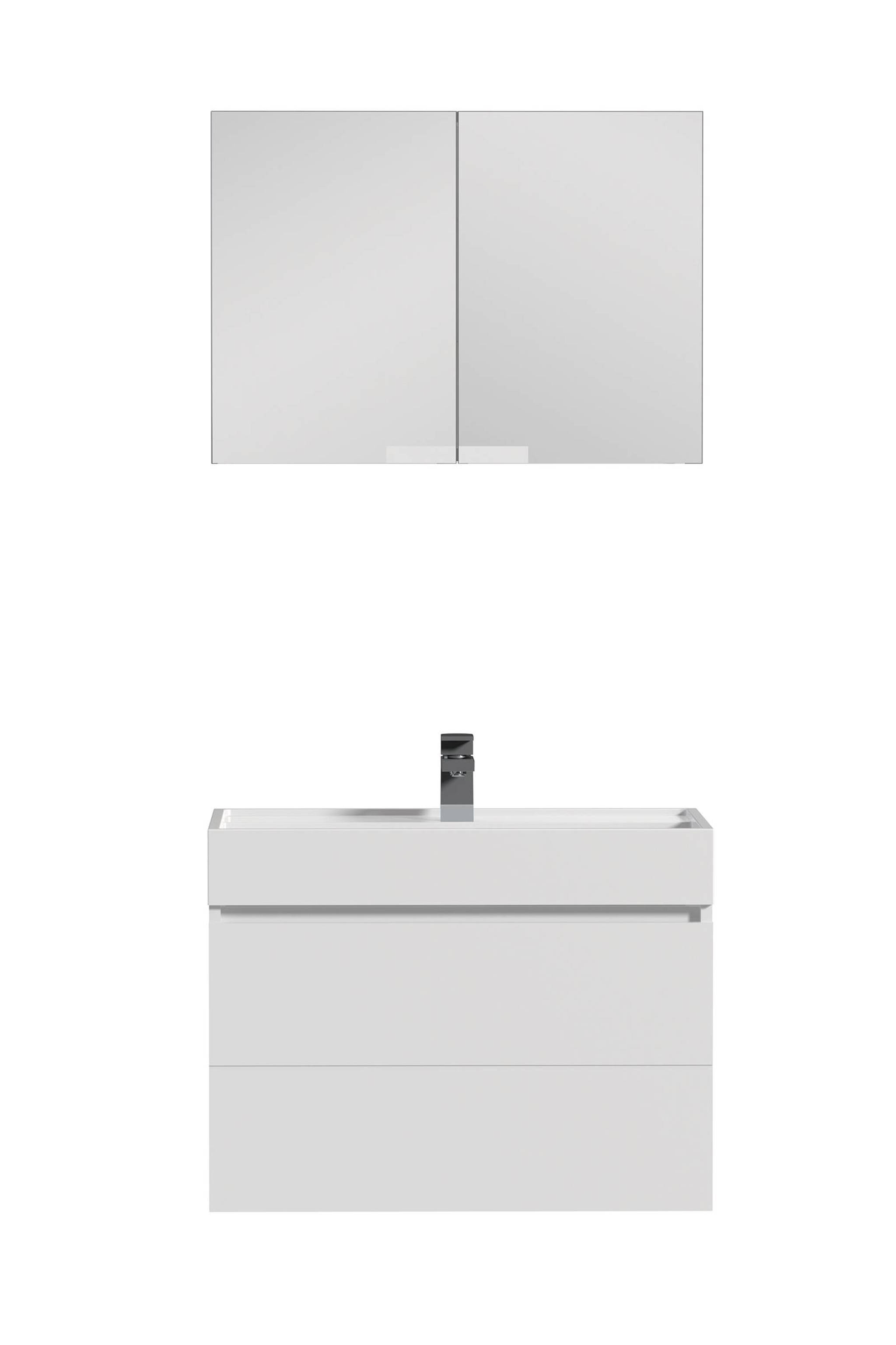 Tiger Items badkamermeubel 70cm met spiegelkast en wit polybeton wastafel