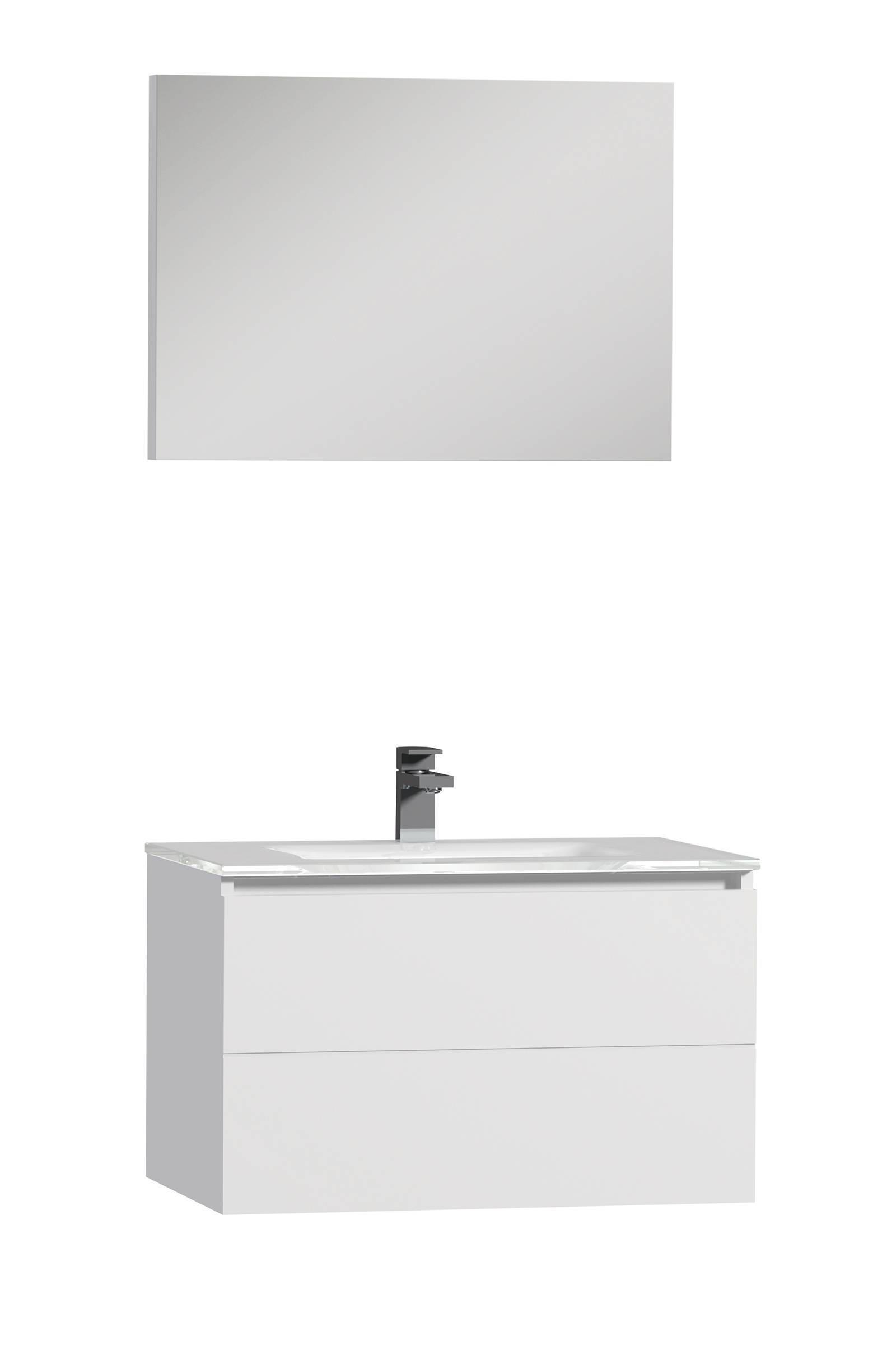 Tiger Items badkamermeubel 70cm met spiegelpaneel en wit glazen wastafel