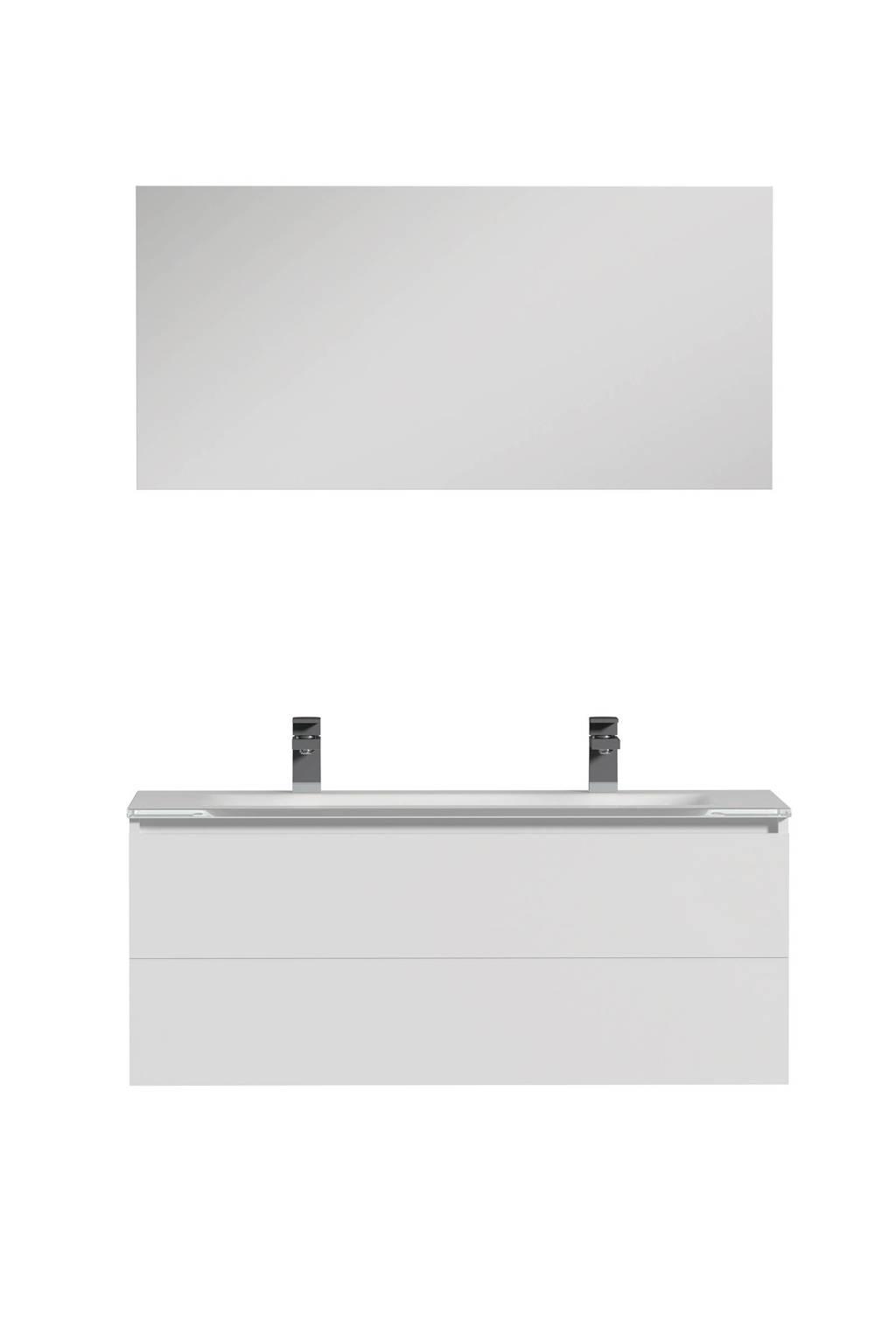 Tiger Items badkamermeubel 105cm met spiegelpaneel en wit glazen wastafel, Glas