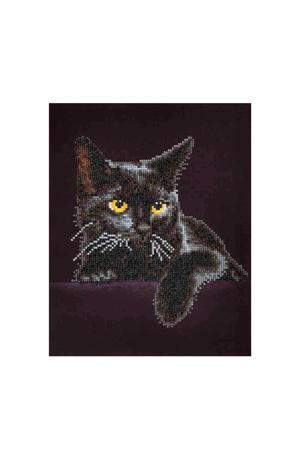 zwarte kat 28x36 cm