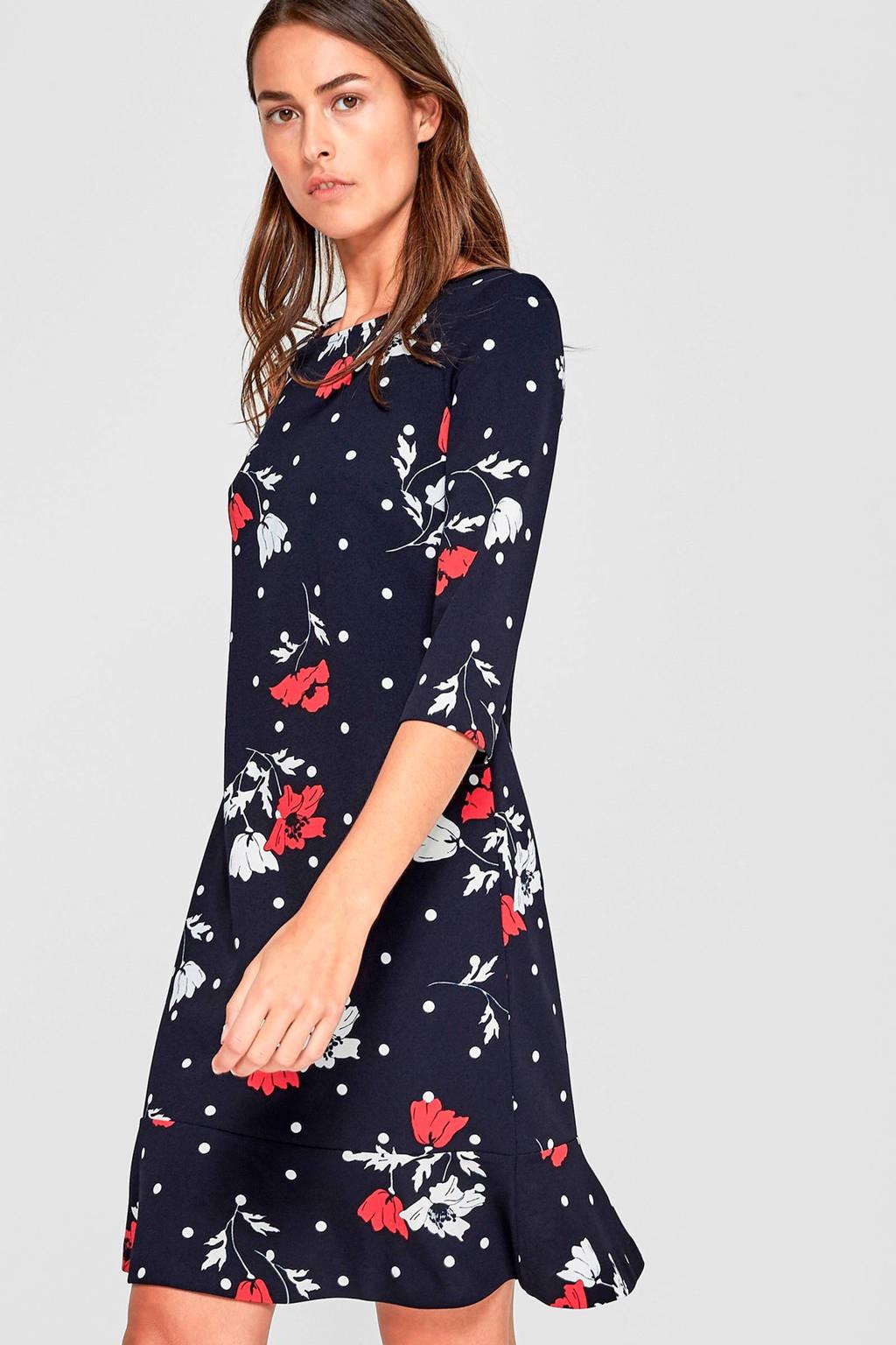 s.Oliver BLACK LABEL jurk, Marine/wit/rood