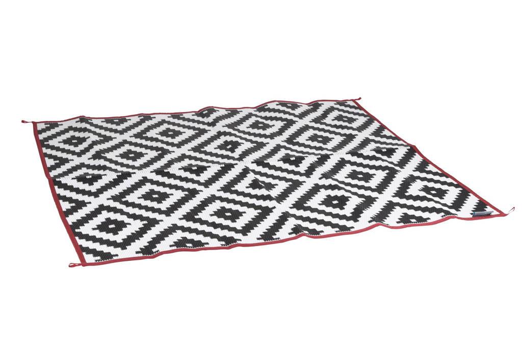 Bo-Leisure buitenkleed (200x180 cm), Zwart, wit met een rode rand