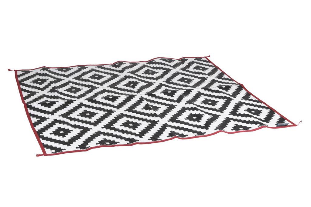 Bo-Leisure buitenkleed (270x200 cm), Zwart, wit met een rode rand
