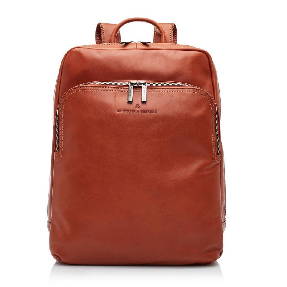 Castelijn & Beerens 15,6 inch leren laptop rugzak, Cognac