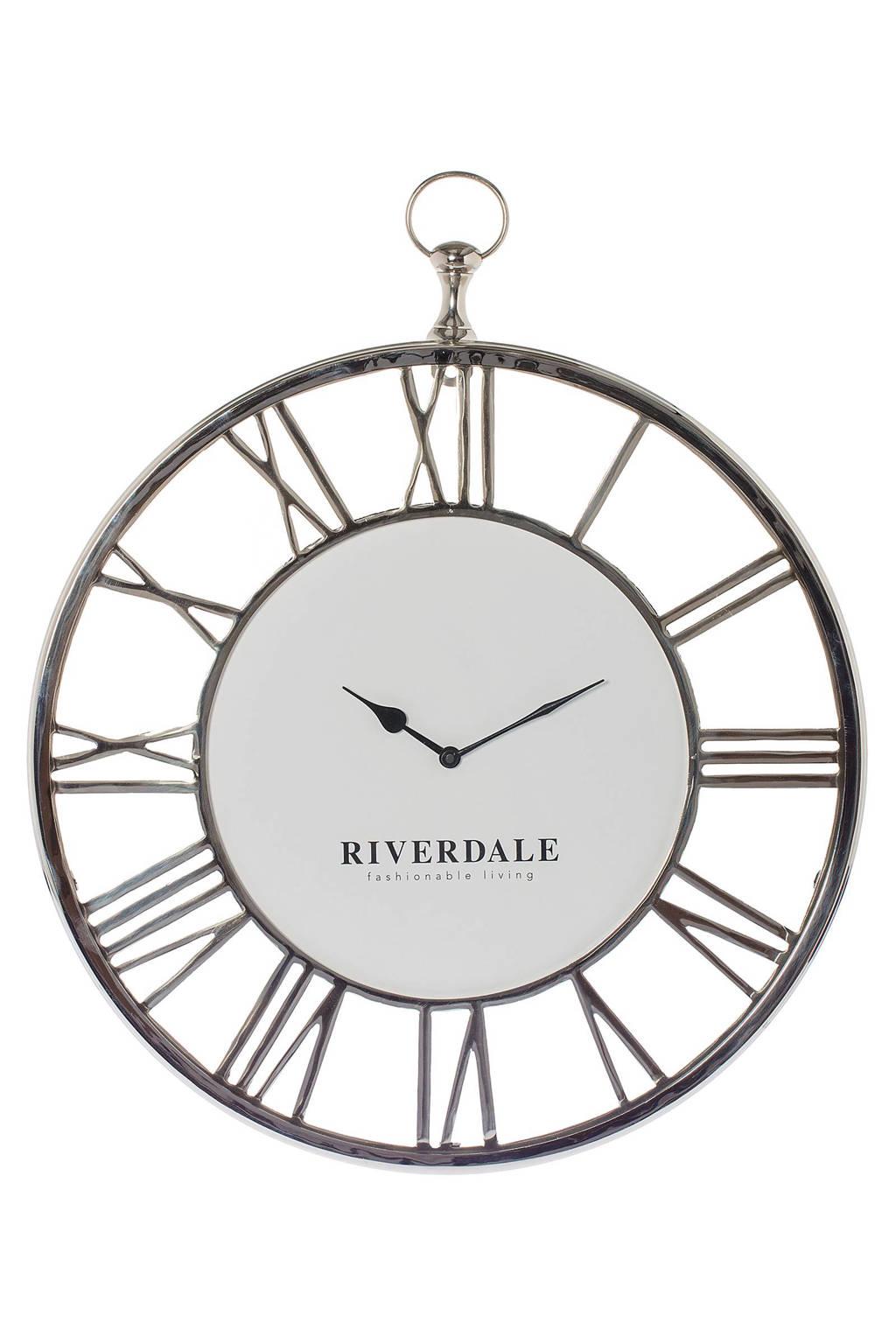 Riverdale wandklok Luton (50 cm), Zilver