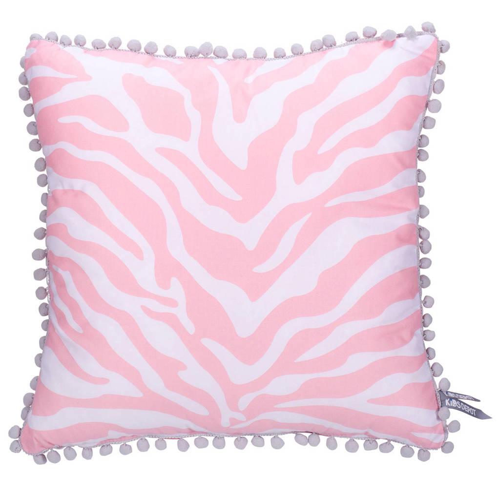 Kidsdepot Zebra sierkussen (45x45 cm), Roze