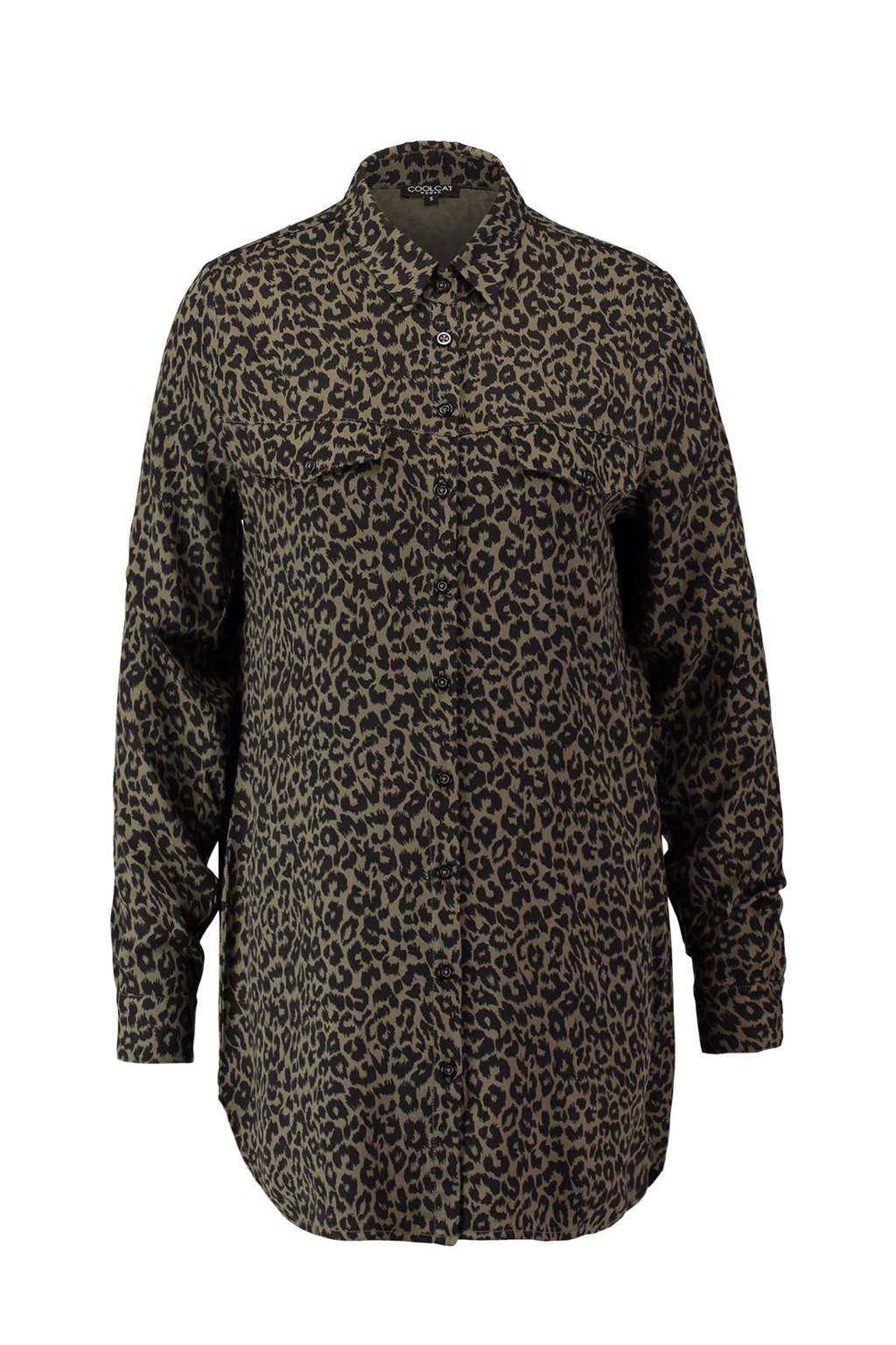 CoolCat blouse, Zwart/beige