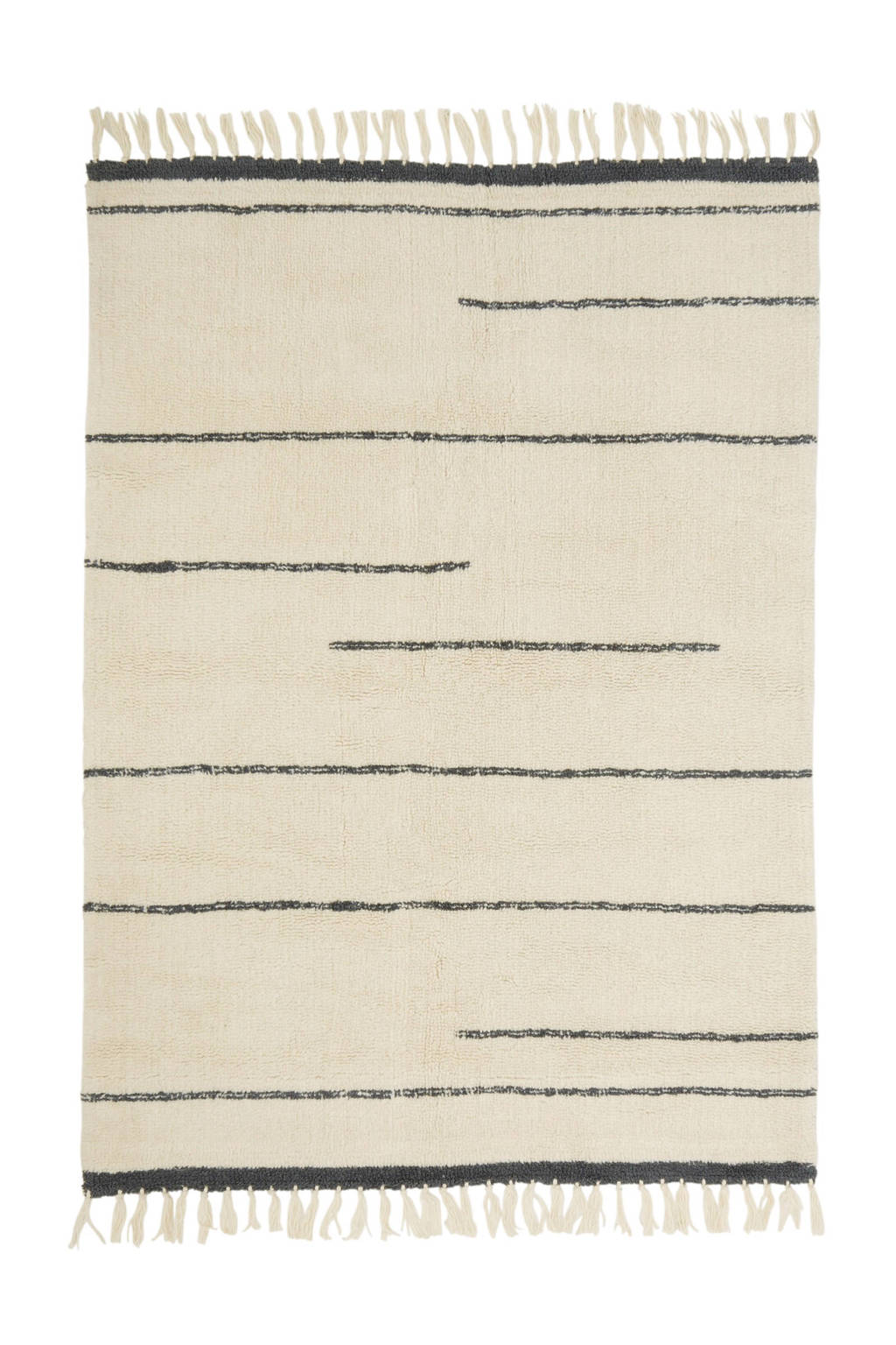 Bloomingville vloerkleed (wol)   (200x140 cm), Ecru/donkerblauw