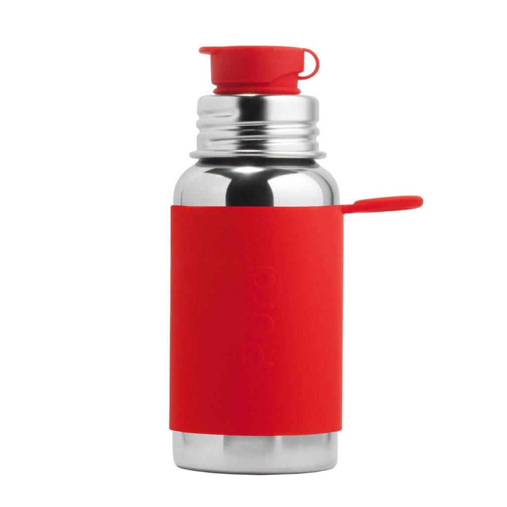 Pura  sport fles 550 ml + rode sleeve, Rood